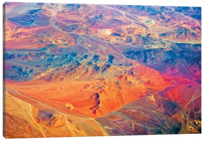 Aerial view of land pattern on Atacama Desert, Chile Canvas Art Print