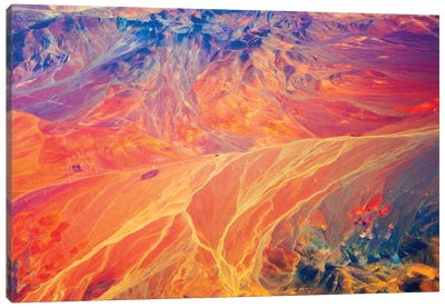 Aerial view of land pattern on Atacama Desert, Chile. Canvas Art Print