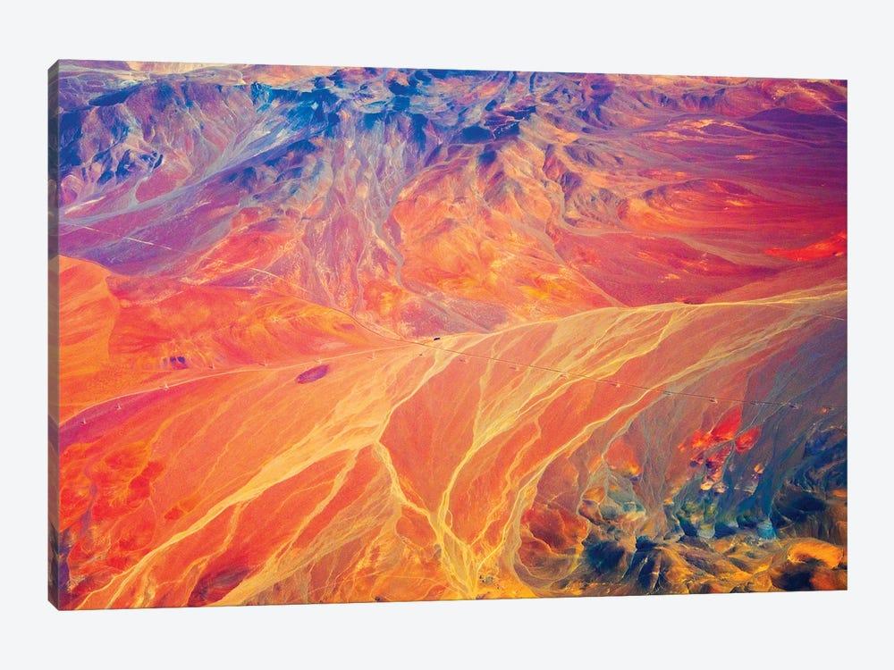 Aerial view of land pattern on Atacama Desert, Chile. by Keren Su 1-piece Canvas Art