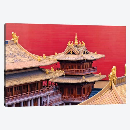 Architectural details of Jing'an Temple, Shanghai, China Canvas Print #KES24} by Keren Su Canvas Wall Art