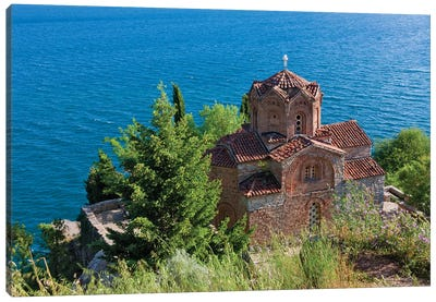Church of St. John the Theologian at Kaneo on the shores of Lake Ohrid, Republic of Macedonia Canvas Art Print