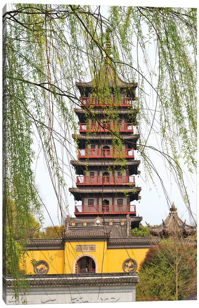 Haogu Pagoda Temple on the South Lake, Jiaxing, Zhejiang Province, China Canvas Art Print