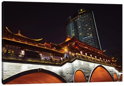 Night view of Anshun Bridge with modern high-rise, Chengdu, Sichuan Province, China Canvas Art Print