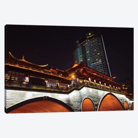 Night view of Anshun Bridge with modern high-rise, Chengdu, Sichuan Province, China Canvas Print #KES37} by Keren Su Art Print