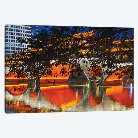 Night view of Anshun Bridge with reflection in Jin River, Chengdu, Sichuan Province, China Canvas Print #KES38} by Keren Su Canvas Wall Art