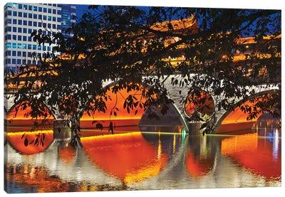 Night view of Anshun Bridge with reflection in Jin River, Chengdu, Sichuan Province, China Canvas Art Print
