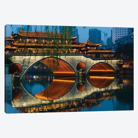 Night view of Anshun Bridge with reflection in Jin River, Chengdu, Sichuan Province, China Canvas Print #KES39} by Keren Su Canvas Wall Art