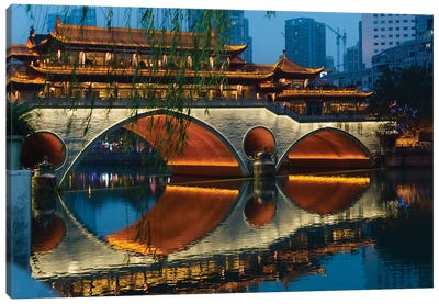 Night view of Anshun Bridge with reflection in Jin River, Chengdu, Sichuan Province, China Canvas Art Print