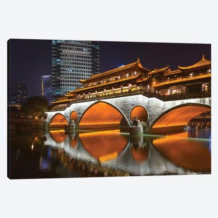 Night view of Anshun Bridge with reflection in Jin River, Chengdu, Sichuan Province, China Canvas Print #KES40} by Keren Su Canvas Art Print