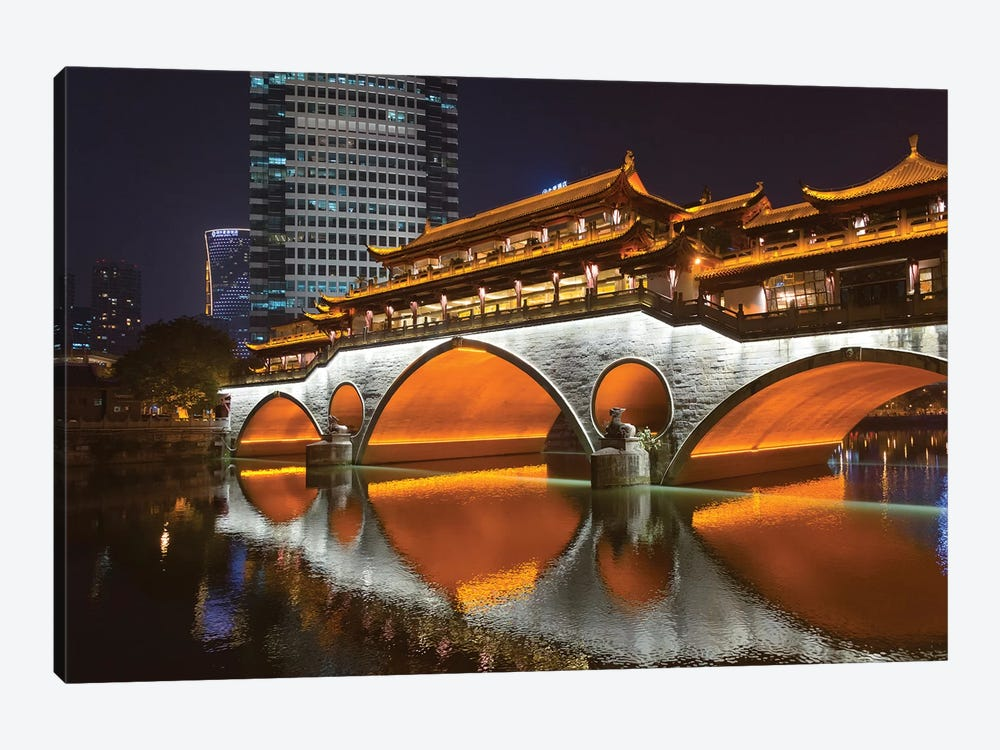Night view of Anshun Bridge with reflection in Jin River, Chengdu, Sichuan Province, China by Keren Su 1-piece Canvas Print