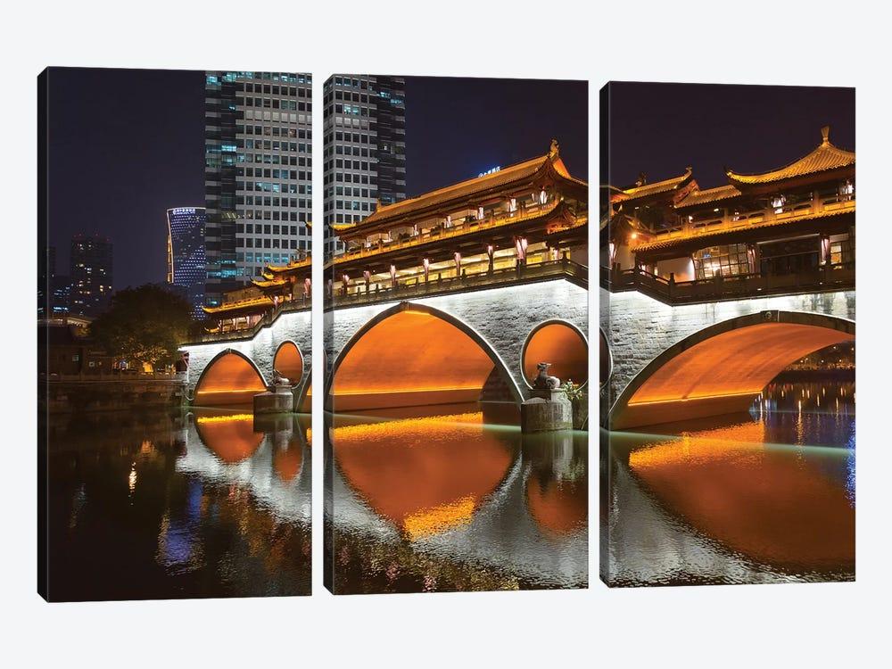 Night view of Anshun Bridge with reflection in Jin River, Chengdu, Sichuan Province, China by Keren Su 3-piece Canvas Print