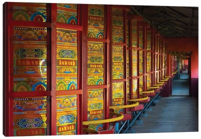 Prayer wheels in the temple, Tagong, western Sichuan, China Canvas Art Print
