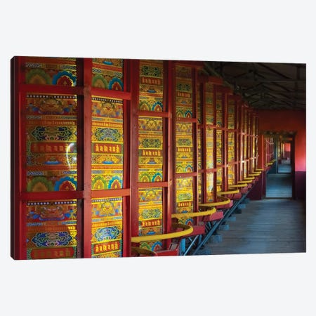 Prayer wheels in the temple, Tagong, western Sichuan, China Canvas Print #KES44} by Keren Su Canvas Wall Art