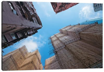 Scaffolding around the residential buildings for renovation in Quarry Bay, Hong Kong, China Canvas Art Print