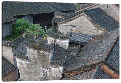 Tiled roofs of traditional houses, Longtan Ancient Village, Yangshuo, Guangxi, China Canvas Art Print