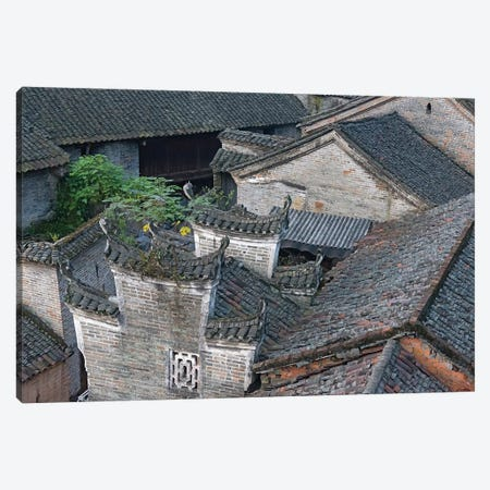 Tiled roofs of traditional houses, Longtan Ancient Village, Yangshuo, Guangxi, China Canvas Print #KES51} by Keren Su Canvas Wall Art