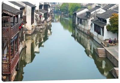 Traditional houses along the Grand Canal, Nanxun Ancient Town, Zhejiang Province, China Canvas Art Print