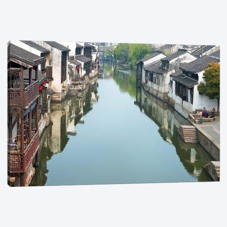 Traditional houses along the Grand Canal, Nanxun Ancient Town, Zhejiang Province, China Canvas Print #KES53} by Keren Su Canvas Wall Art