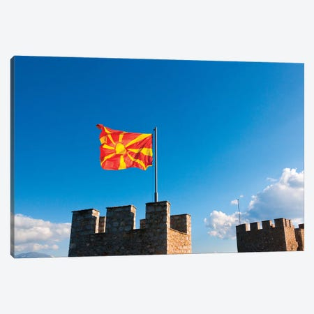 Tsar Samuil's Fortress with national flag, Ohrid, Republic of Macedonia Canvas Print #KES54} by Keren Su Art Print
