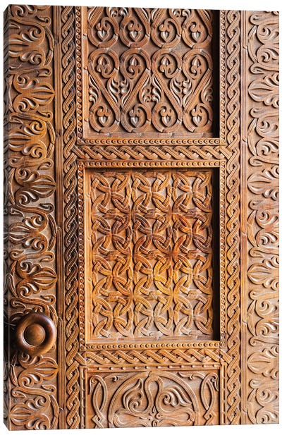 Wooden door, Holy Trinity Cathedral of Tbilisi, also known as Sameba, Tbilisi, Georgia Canvas Art Print