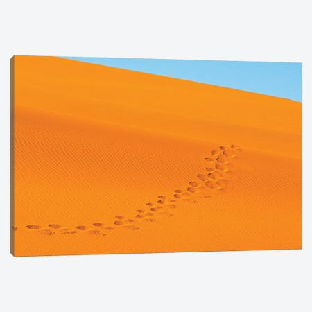 Footprints on red sand dune in southern Namib Desert. Sossusvlei, Namib-Naukluft NP, Namibia Canvas Print #KES72} by Keren Su Canvas Wall Art