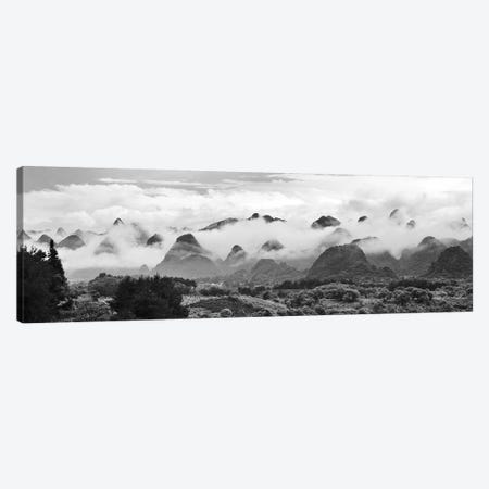 Limestone hills in mist, Xingping, Yangshuo, Guangxi, China 3-Piece Canvas #KES78} by Keren Su Canvas Art