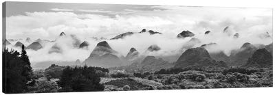 Limestone hills in mist, Xingping, Yangshuo, Guangxi, China Canvas Art Print