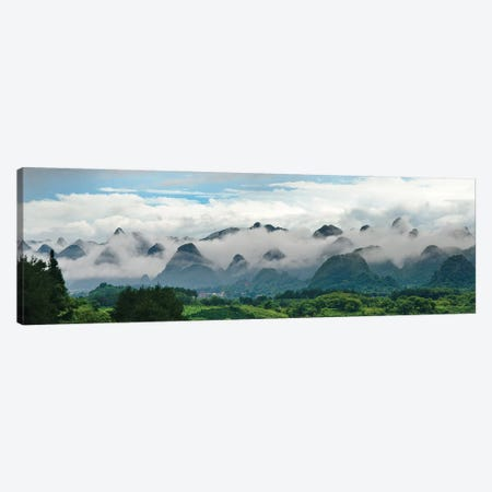 Limestone hills in mist, Xingping, Yangshuo, Guangxi, China Canvas Print #KES79} by Keren Su Canvas Artwork