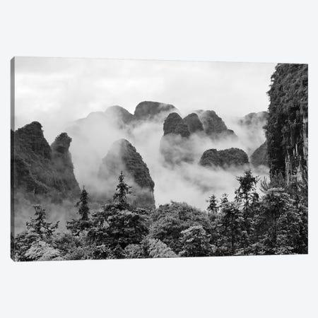 Limestone hills in mist, Yangshuo, Guangxi, China 3-Piece Canvas #KES80} by Keren Su Canvas Art Print