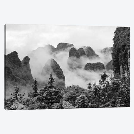Limestone hills in mist, Yangshuo, Guangxi, China Canvas Print #KES80} by Keren Su Canvas Art Print