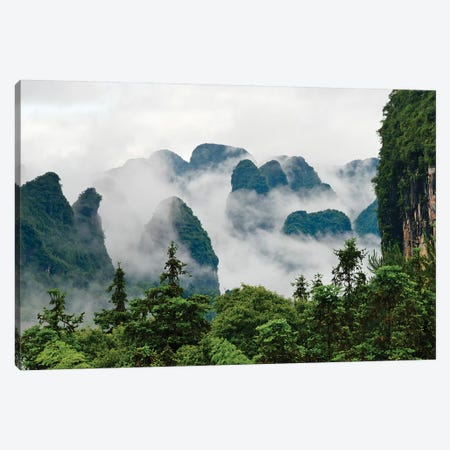 Limestone hills in mist, Yangshuo, Guangxi, China Canvas Print #KES81} by Keren Su Canvas Print
