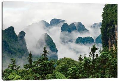 Limestone hills in mist, Yangshuo, Guangxi, China Canvas Art Print