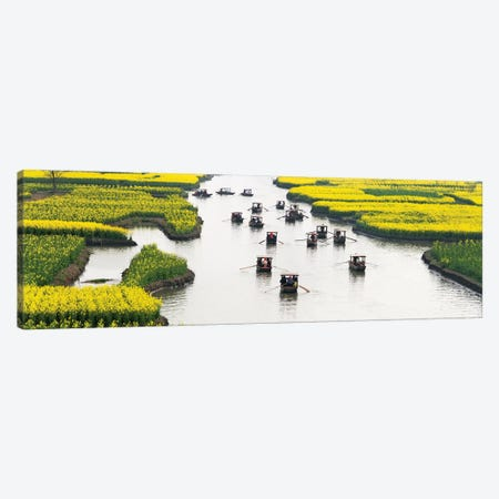 Rowing boat on river through Thousand-Islet canola flower fields, Xinghua, Jiangsu Province, China Canvas Print #KES93} by Keren Su Canvas Art