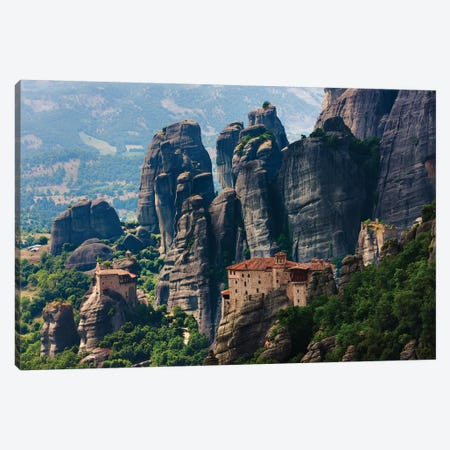 St. Nikolaos Anapafsas Monastery and Monastery of Roussanou, Meteora, Greece 3-Piece Canvas #KES95} by Keren Su Art Print