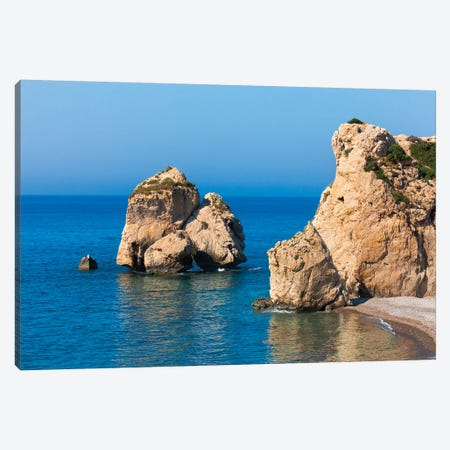 The rock of Aphrodite in the Mediterranean, Paphos (Pafos), Republic of Cyprus Canvas Print #KES97} by Keren Su Canvas Art Print