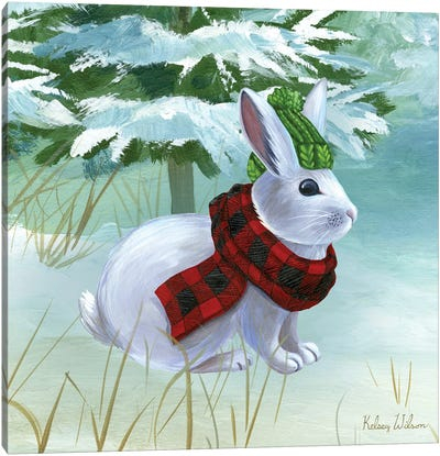 Winterscape III-Rabbit Canvas Art Print