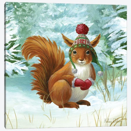 Winterscape IV-Squirrel Canvas Print #KEW11} by Kelsey Wilson Canvas Wall Art