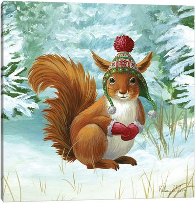 Winterscape IV-Squirrel Canvas Art Print