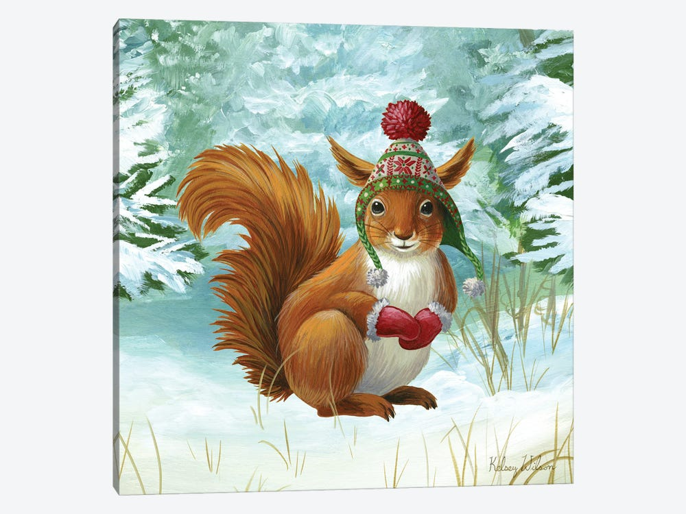 Winterscape IV-Squirrel by Kelsey Wilson 1-piece Canvas Wall Art