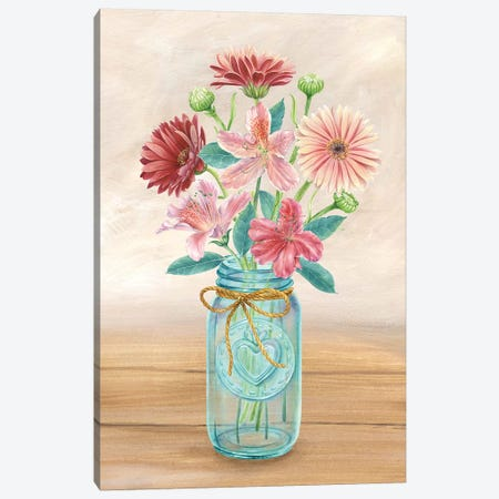 Floral Jar I Canvas Print #KEW1} by Kelsey Wilson Canvas Art Print