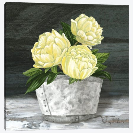 Farmhouse Garden Square-Peonies Canvas Print #KEW33} by Kelsey Wilson Canvas Wall Art
