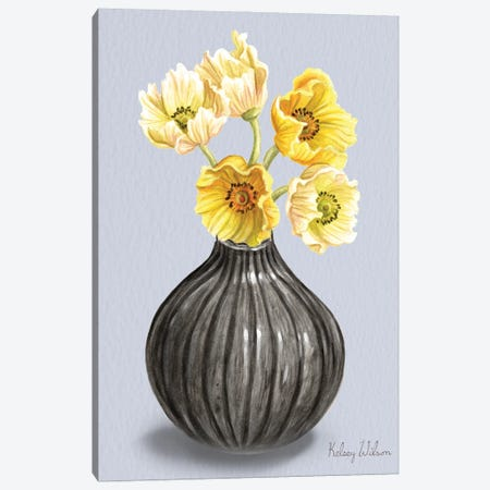 Poppies In Vase I Canvas Print #KEW34} by Kelsey Wilson Art Print