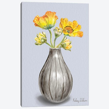 Poppies In Vase II Canvas Print #KEW35} by Kelsey Wilson Art Print