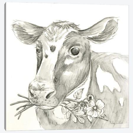 Watercolor Pencil Farm II-Cow Canvas Print #KEW47} by Kelsey Wilson Canvas Artwork