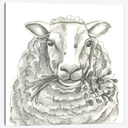 Watercolor Pencil Farm IX-Sheep Canvas Print #KEW51} by Kelsey Wilson Canvas Wall Art