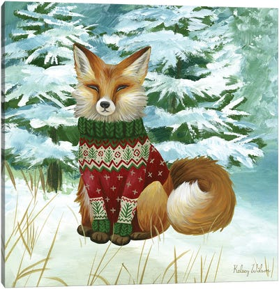 Winterscape II-Fox Canvas Art Print