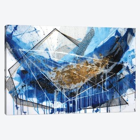 Geo Swoosh Blue Canvas Print #KEZ16} by Kristen Elizabeth Canvas Art