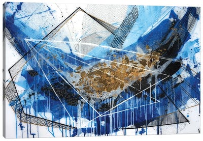 Geo Swoosh Blue Canvas Art Print