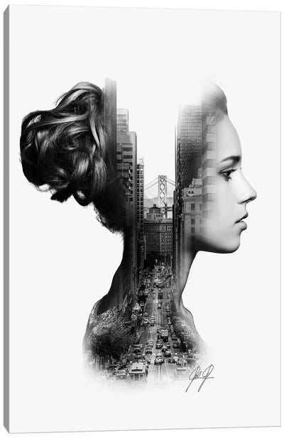 Profile Double Exposure I Canvas Art Print