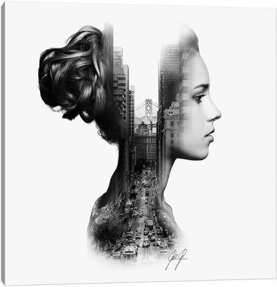 Profile Double Exposure II Canvas Art Print